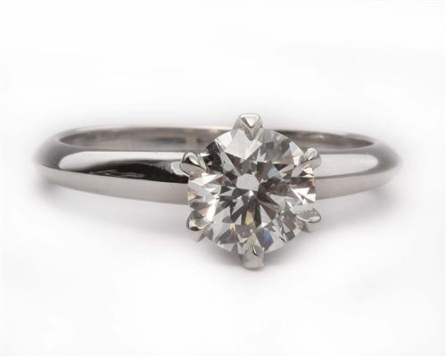 Platinum 0.87 Round cut Solitaire Ring