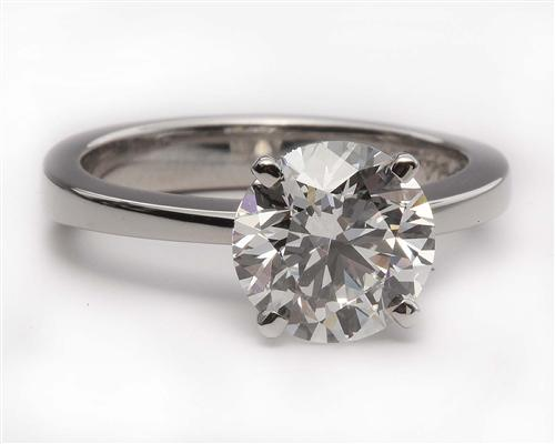 Platinum 2.11 Round cut Engagement Rings