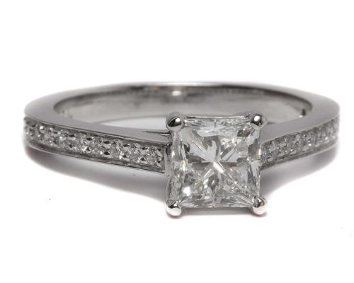 White Gold 1.04 Princess cut Pave Diamond Engagement Rings