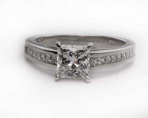 Platinum 1.13 Princess cut Princess Cut Engagement Rings With Side Stones