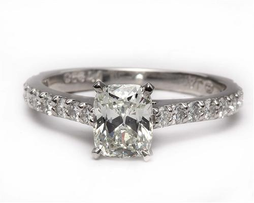 Platinum 1.12 Cushion cut Diamond Ring With Sidestones