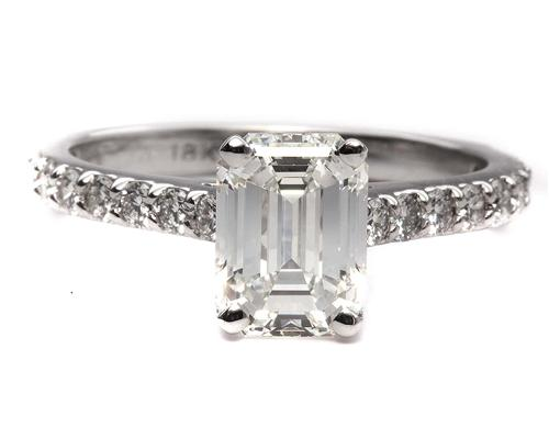 White Gold 2.03 Emerald cut Engagement Ring Settings With Side Stones