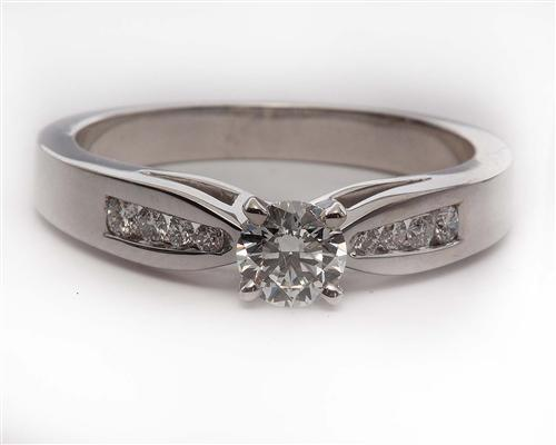 White Gold 0.40 Round cut Engagement Ring With Side Stones