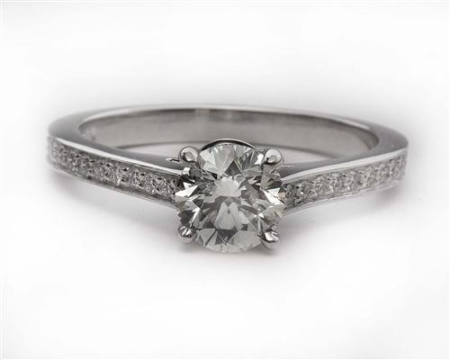 White Gold 0.96 Round cut Engagement Ring