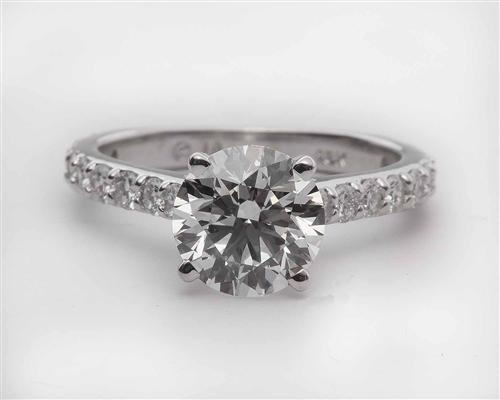 White Gold 1.57 Round cut Engagement Ring Settings With Side Stones