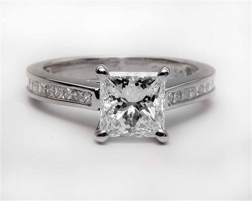 Platinum 1.56 Princess cut Engagement Ring