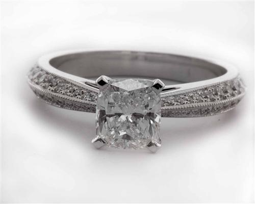 White Gold 0.99 Cushion cut Micro Pave Rings