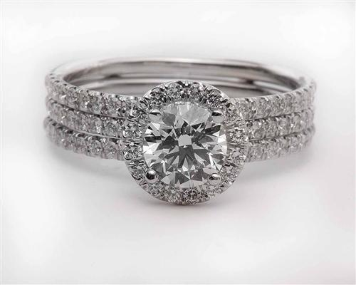 White Gold 0.71 Round cut Pave Diamond Rings