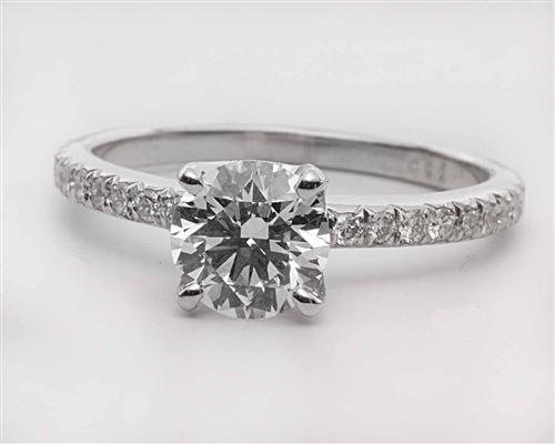 White Gold 0.95 Round cut Pave Ring Set