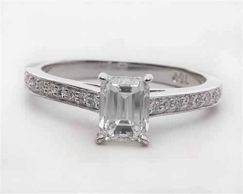 White Gold 0.90 Emerald cut Micro Pave Ring