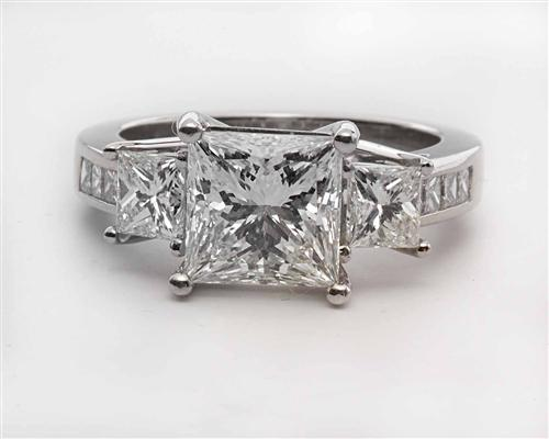 Platinum 2.05 Princess cut Diamond Ring With Side Stones