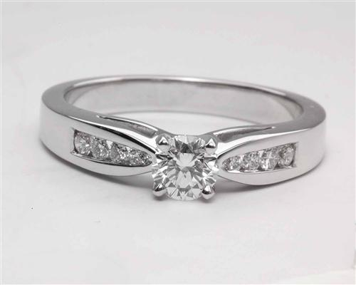 White Gold 0.40 Round cut Engagement Ring Settings With Side Stones