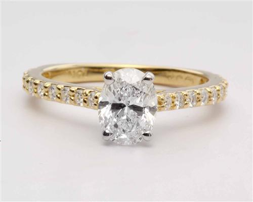 Gold 1.01 Oval cut Diamond Rings