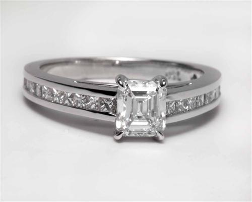White Gold 0.66 Emerald cut Engagement Ring Settings With Side Stones