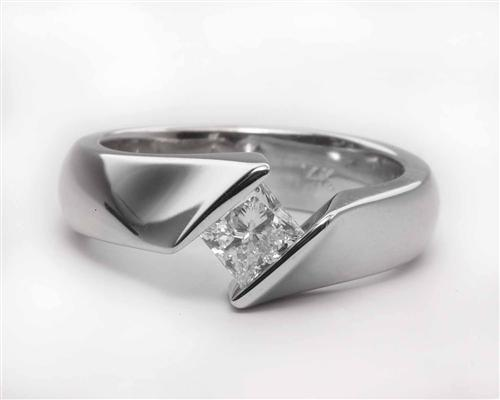 White Gold 0.70 Princess cut Tension Diamond Engagement ring