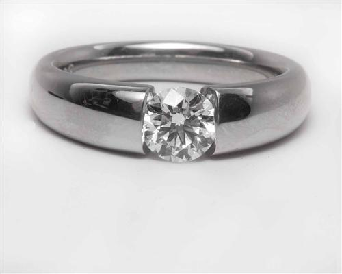 Platinum 0.53 Round cut Solitaire Engagement Ring