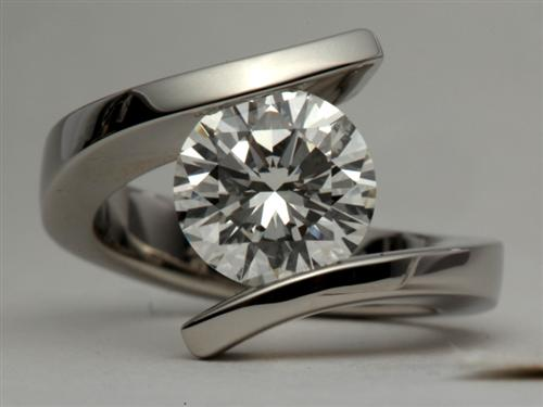 Platinum 3.01 Round cut Tension Diamond Rings
