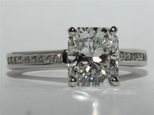 Platinum 2.07 Radiant cut Diamond Channel Ring