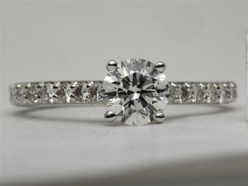 White Gold 0.85 Round cut Engagement Ring Settings With Side Stones