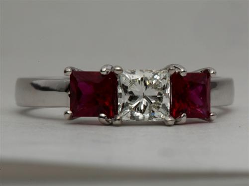 White Gold 0.58 Princess cut Diamond And Gemstone Rings