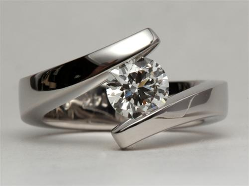 White Gold 0.90 Round cut Engagement Ring