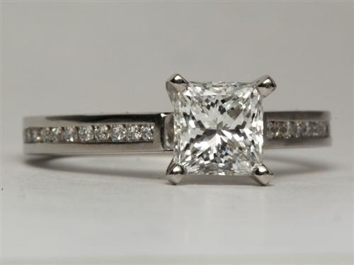 Platinum 1.25 Princess cut Channel Engagement Rings