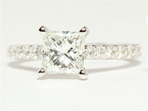 White Gold 1.22 Princess cut Engagement Ring With Side Stones