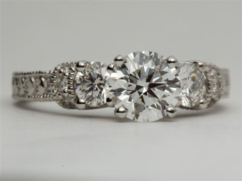 Platinum 1.01 Round cut Engagement Ring With Sidestones