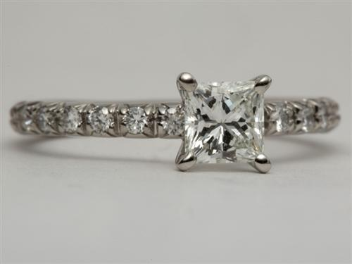 Platinum 0.65 Princess cut Diamond Pave Rings