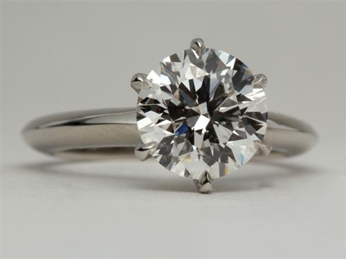 Platinum 2.08 Round cut Solitaire Engagement Ring
