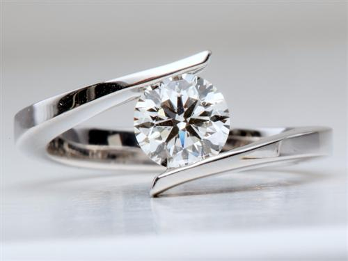 White Gold 1.01 Round cut Diamond Rings