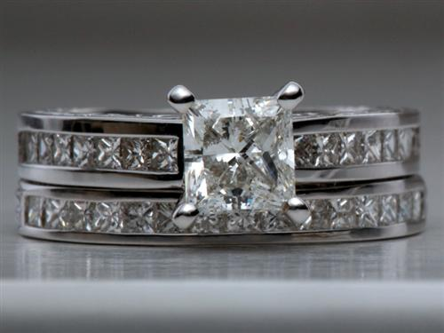 White Gold 0.91 Princess cut Bridal Set Wedding Rings