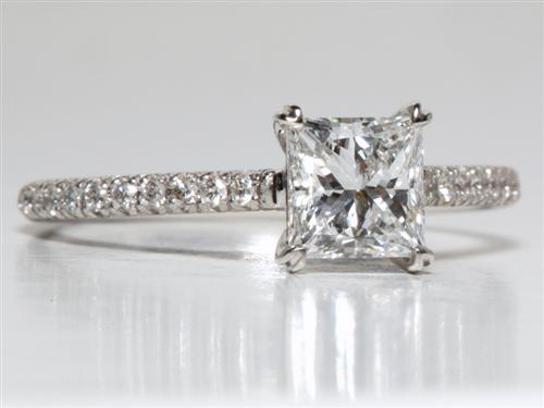 White Gold 0.96 Princess cut Pave Engagement Rings
