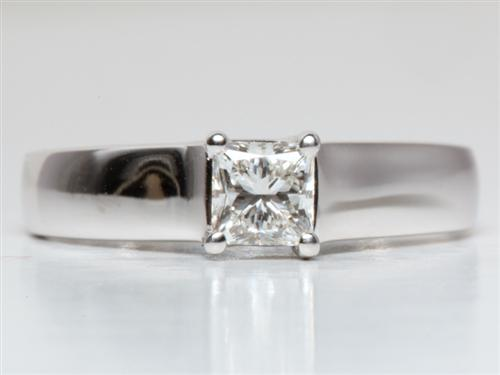 White Gold 0.54 Princess cut Engagement Rings