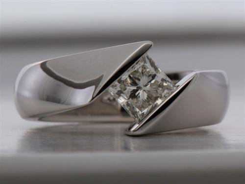White Gold 0.91 Princess cut Diamond Rings