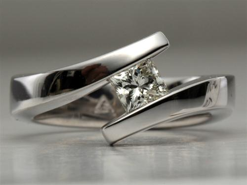 White Gold 0.52 Princess cut Engagement Rings