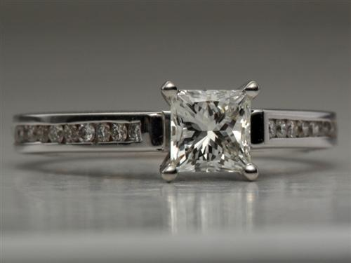 White Gold 0.71 Princess cut Channel Rings