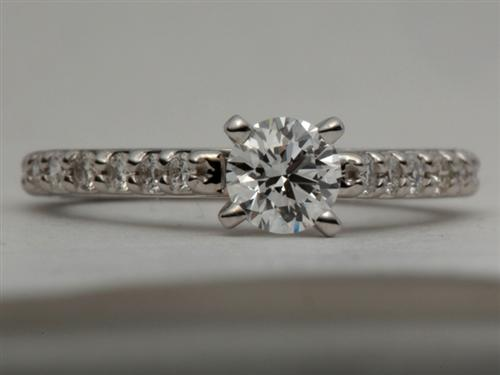 White Gold 0.34 Round cut Engagement Ring With Sidestones