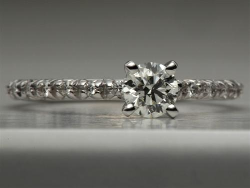 White Gold 0.34 Round cut Pave Diamond Engagement Ring