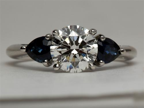 Platinum 1.33 Round cut Gemstone Ring