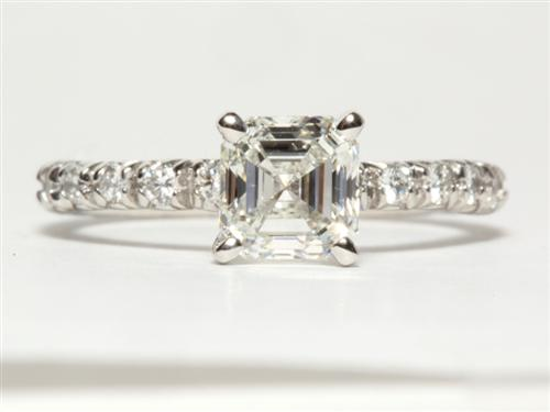 Platinum 1.06 Asscher cut Pave Rings