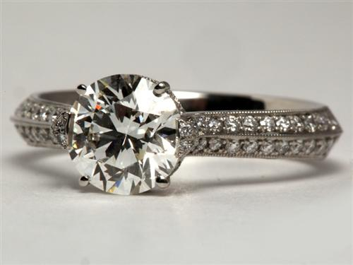 Platinum 1.31 Round cut Diamond Rings