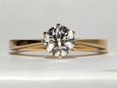Gold 0.86 Round cut Solitaire Engagement Ring
