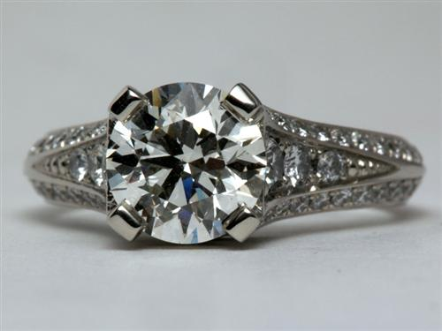 Platinum 1.59 Round cut Micro Pave Diamond Ring