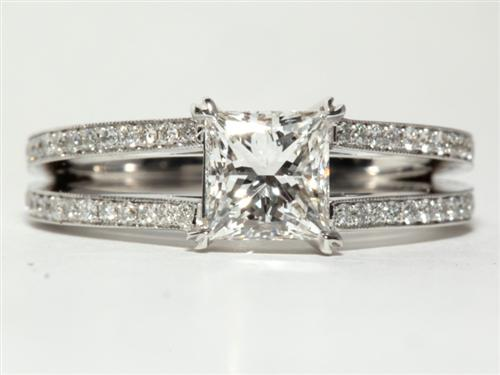 White Gold 1.02 Princess cut Micropave Ring