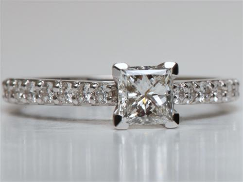 White Gold 0.74 Princess cut Engagement Rings Side Stones