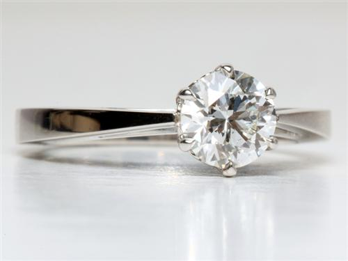 Platinum 0.80 Round cut Solitaire Engagement Rings