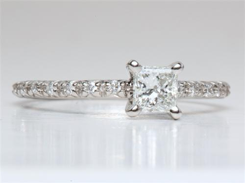 Platinum 0.41 Princess cut Pave Ring Setting