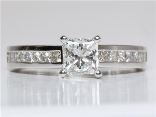 Platinum 0.81 Princess cut Channel Cut Ring