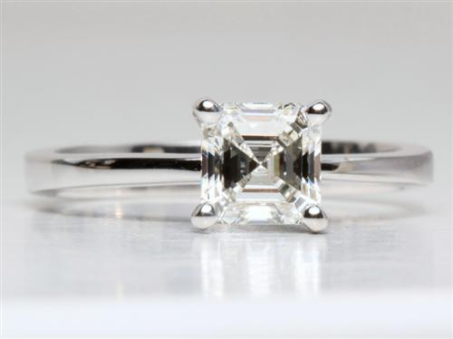 White Gold 1.23 Asscher cut Engagement Ring